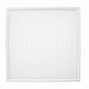 Luminária Plafon 62x62 48W LED Embutir Branco Frio Borda Branca