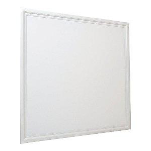 Luminária Plafon 62x62 48W LED Embutir Branco Quente Borda Branca