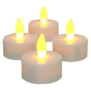Kit 4 Lâmpada LED Vela Eletrônica Decorativa Branco Quente Amarela Com Bateria