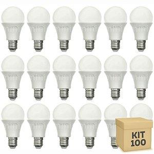 Kit 100 Lâmpada Bulbo LED A60 8W Bivolt Branca - Amarela