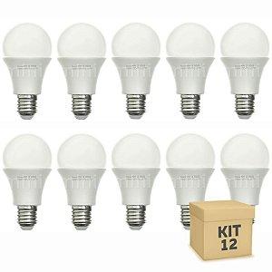Kit 12 Lâmpada Bulbo LED A60 8W Bivolt Branca - Amarela
