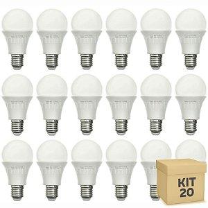 Kit 20 Lâmpada Bulbo LED A60 8W Bivolt Branca - Amarela