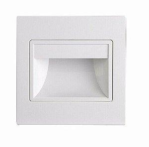 Balizador LED 3W De Embutir Quadrado Branco Quente