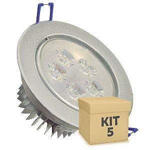 Kit 5 Spot Dicróica 5w LED Direcionável Corpo Aluminio