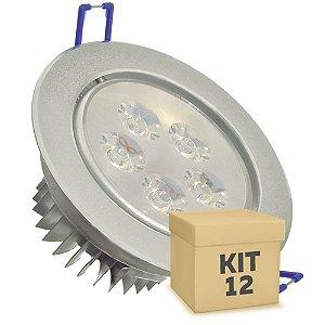 Kit 12 Spot Dicróica 5w LED Direcionável Corpo Aluminio