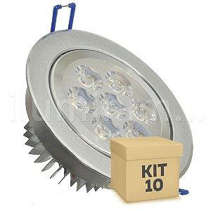 Kit 10 Spot Dicróica 7w LED Direcionável Corpo Aluminio