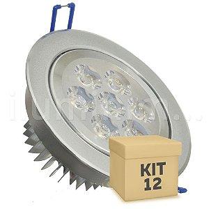 Kit 12 Spot Dicróica 7w LED Direcionável Corpo Aluminio