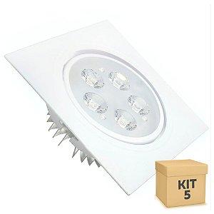 Kit 5 Spot 5W Dicróica LED Direcionavel Base Branca