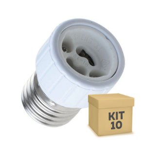 Kit 10 Adaptador Soquete E-27 P/ Lâmpada GU10