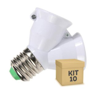 Kit 10 Adaptador Soquete LED E-27 Duplo
