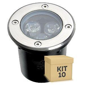 Kit 10 Spot Balizador LED 3W Branco Frio para Piso
