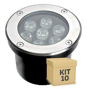 Kit 10 Spot Balizador LED 7W Branco Frio para Piso