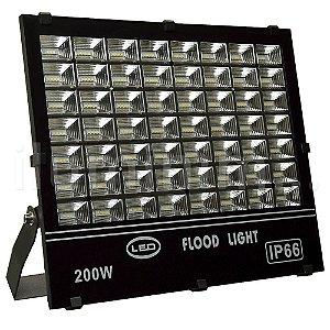 Refletor Holofote MicroLED 200W Multifocal Branco Frio Preto