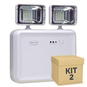 Kit 2 Luminária de Emergência LED 1200 Lúmens | 2 Faróis