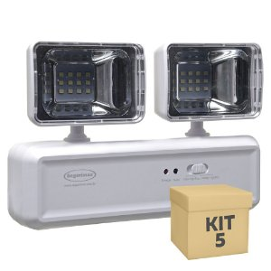 Kit 5 Luminária de Emergência LED 400 Lúmens | 2 Faróis