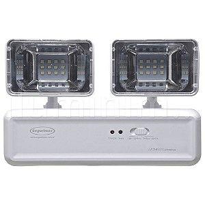 Kit 10 Luminária de Emergência LED 400 Lúmens | 2 Faróis