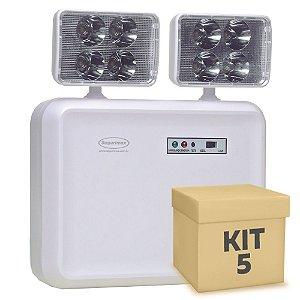 Kit 5 Luminária de Emergência LED 2.200 Lúmens | 2 Faróis