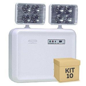 Kit 10 Luminária de Emergência LED 2.200 Lúmens | 2 Faróis