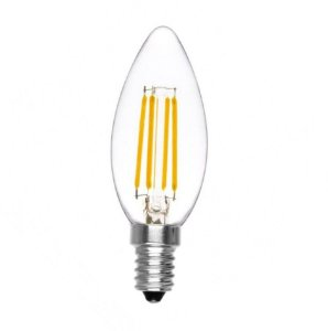 Lâmpada LED Vela 4W Cristal Branco Quente Filamento