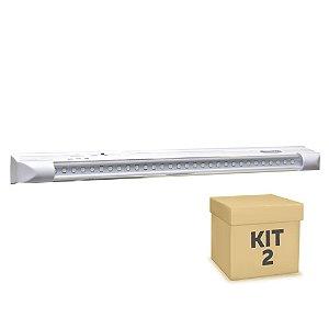 Kit 2 Luminária de Emergência 30 LEDs | Super Slim