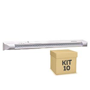 Kit 10 Luminária de Emergência 30 LEDs | Super Slim
