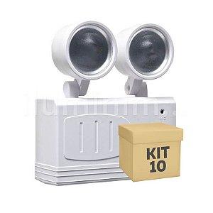 Kit 10 Luminária de Emergência LED 200 Lúmens | 2 Faróis