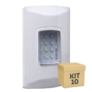 Kit 10 Luminária de Emergência 100 Lúmens | Embutir