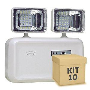Kit 10 Luminária de Emergência LED 600 Lúmens | 2 Faróis