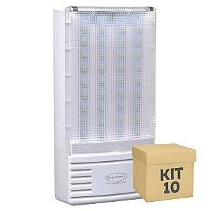 Kit 10 Luminária de Emergência 300 Lúmens | Premium