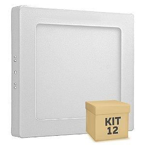 Kit 12 Luminária Plafon 12w LED Sobrepor Branco Frio