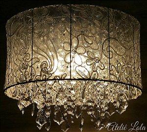 Lustre Pendente LED Cristal e Renda