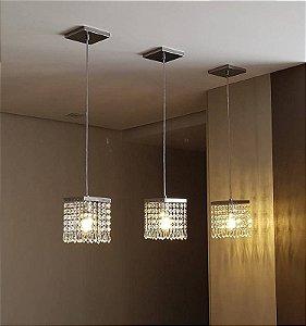 Lustre Pendente LED Cristal 15x15