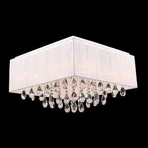 Lustre Pendente LED Cristal e Voil 40x40