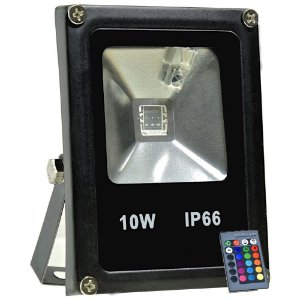 Refletor Holofote LED 10w RGB Colorido c/ Controle Preto
