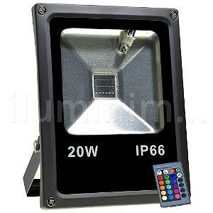 Refletor Holofote LED 20w RGB Colorido c/ Controle Preto
