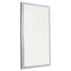 Luminária Plafon 30x60 48W LED Sobrepor Branco Quente Borda Branca