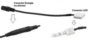 Conector para Fita LED 5050 10mm - 2 Vias com Conector P4 Fêmea