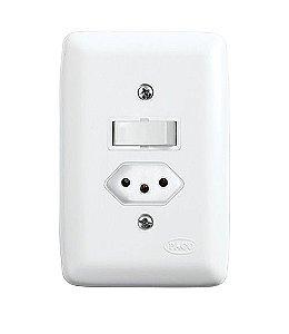 Conjunto 1 Interruptor Paralelo + 1 Tomada 2P+T de Embutir 10A Branco