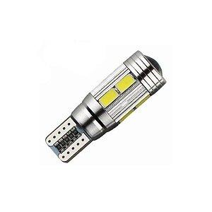 Lâmpada LED Automotiva T10 Cambus Cree 10 Leds Branco Frio
