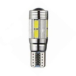 Lâmpada LED Automotiva T10 5W Cambus Cree 10 Leds Vermelho
