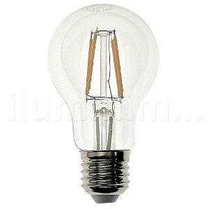 Lâmpada LED Bulbo A60 4W Cristal Branco Quente Filamento