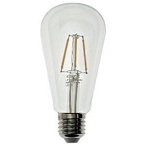 Lâmpada LED Pera ST64 4W Cristal Branco Quente Filamento | Inmetro