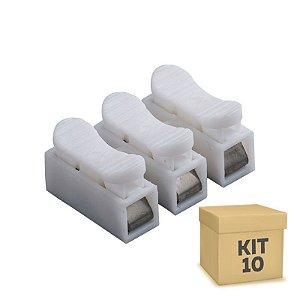 Kit 10 Conector de Fio LED 3 Vias - Sem Solda