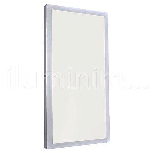 Luminária Plafon 30x60 36W LED Sobrepor Branco Frio Borda Branca