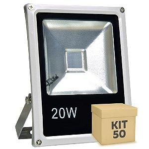 Kit 50 Refletor Holofote LED 20w RGB Colorido c/ Controle