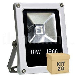 Kit 20 Refletor Holofote LED 10w RGB Colorido c/ Controle