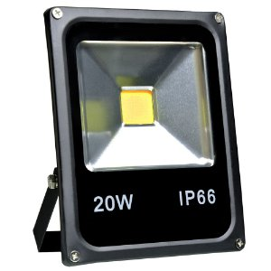 Refletor Holofote LED 20w Branco Quente Preto