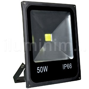 Refletor Holofote LED 50w Branco Quente Preto