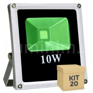 Kit 20 Refletor Holofote LED 10w Verde