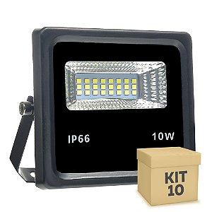 Kit 10 Refletor Holofote MicroLED 10W Branco Frio